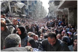 ค่ายผู้ลี้ภัยในเมืองดามัสกัส ในซีเรีย ภาพถ่ายปี 2014 (2557)